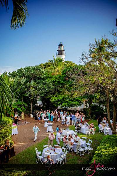 A view of the party and the historic lighthouse